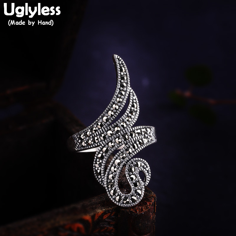 Uglyless Creative Abstract Snake Wide Rings Women Exaggerated Irregular Animals Open Ring Marcasite 925 Silver Fine Jewelry R886