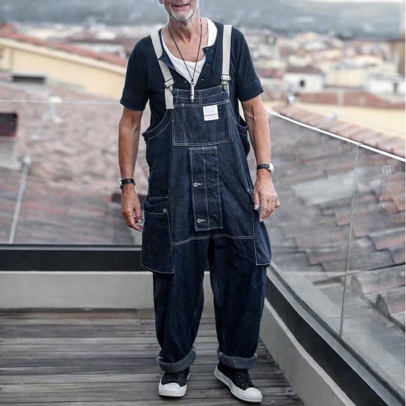 Men Loose Casual Wide Leg Denim Cargo Pants Male Japan Harajuku Streetwear Hip Hop Jumpsuit Bib Trousers Jeans Overalls
