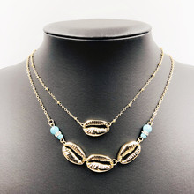 Classic layered shell necklace European wind metal shell necklace for women Birthday gift for girl недорго, оригинальная цена