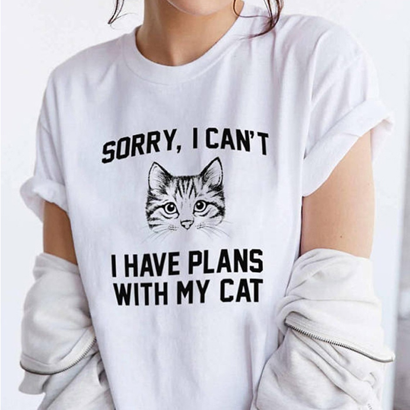 2019 New Cute Cat Letter Harajuku T-shirt O-neck Short-sleeved Casual Summer Tops Simple Letter T-shirt Femme Tee