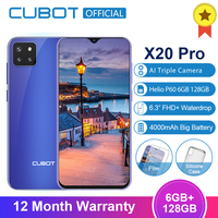 Cubot X20 Pro 6GB+128GB AI Mode Triple Cameras Android 9.0 Octa Core Helio P60 AI 6.3 FHD+ Waterdrop Screen Face ID Smartphone
