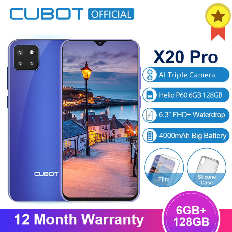 Cubot X20 Pro 6GB+128GB AI Mode Triple Cameras Android 9.0 Octa Core Helio P60 AI 6.3 FHD+ Waterdrop Screen Face ID Smartphone image