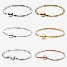 Authentic 925 Sterling Silver Bracelets Moments Snake Chain&Mess Bracelet fit Original Charms For Women Luxury DIY Jewelry цена и фото