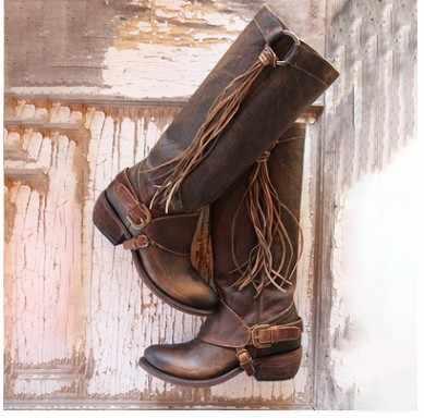 Goxpacer gladiador botas femininas sapatos vintage borla sobre o joelho botas casuais moda dedo do pé redondo cavaleiro todos os jogos fivela anel