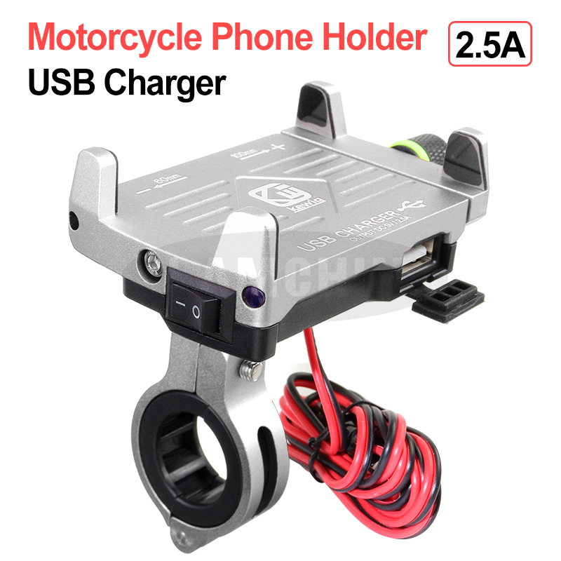 Motorcycle Phone Holder With 12/24V USB Charger Adjustable Aluminum Alloy Mobile Phone Stand For Electric Car Motorcycle Holder