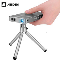 AODIN DLP Portable Projector LED Mini Projector Wifi Wireless Sync Display 50Ansi Lumen Full HD For Home theater