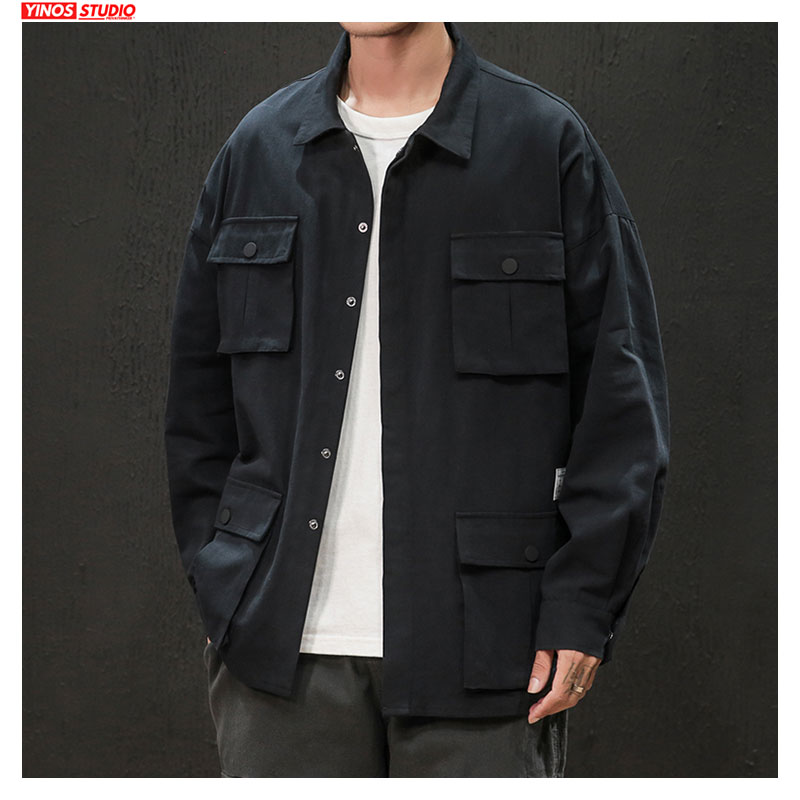 Dropshipping 2020 Autumn Cargo Loose Shirts Japanese Fashions Casual Overalls Coats Male Streetwear Baggy Pocket Tops