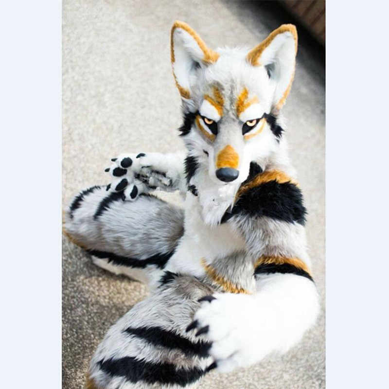 Husky Dog Fox Mascot Costume Long Fur Furry Costume Artificial fur Wolf Cosplay Party Fursuit Halloween Suit Cosplay 1101 Mascot  - AliExpress