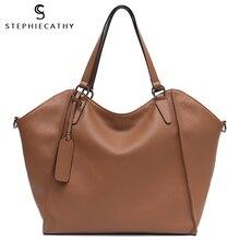 SC Large Genuine Cow Leather Women Tote Fashion Brand Style Soft Leather Crossbody Office Lady Shoulder Handbags bolsa feminina