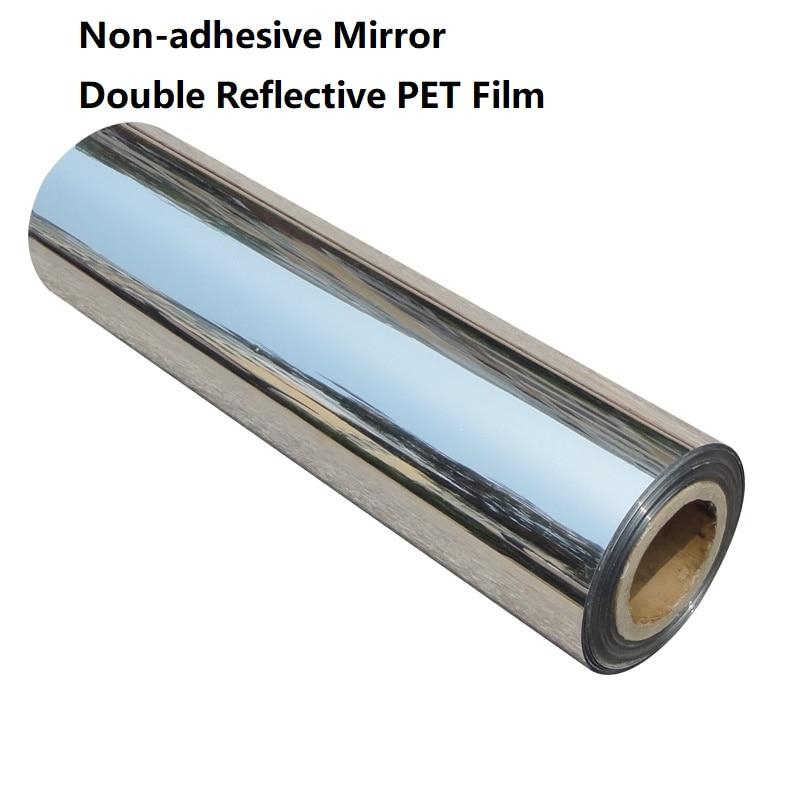 50cm Width None-adhesive PET Reflective Decorative Film Mirror Waterproof High Light Double Reflective Film