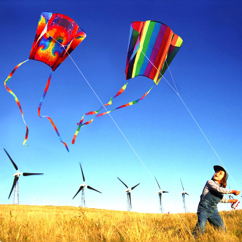 2020 Hot Sale Colorful Parafoil Kite With 200cm Tails 30m Flying Line Outdoor Soft Fly Kite Toys For Children Gift Outdoor Tool