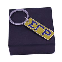 Metal Rectangle Stamped Custom Engraved Enamel Color Sigma Gamma Rho Label Pendant Key Chain Sorority Fraternity Key Finders(China)