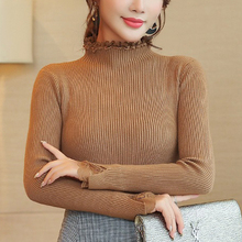 Autumn womens clothes knitted winter half high collar Sweater femininas Women Sweaters 2019 New Khaki Short Pull 00C