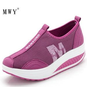 Image 4 - MWY Balanço Das Mulheres Sapatos Casuais Sapatos de Caminhada Malha Respirável Cunhas Sapatos Altura Crescente Sapatos Femininos Deportivas Mujer