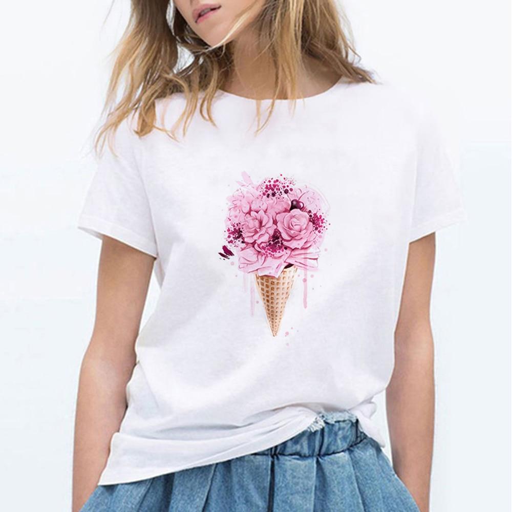 Ice Cream Flowers Art Printing Female T-shirt Harajuku Casual Kawaii Vintage T Shirts Women Vogue Streetwear Trendy Women Shirts