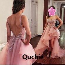 Розовый высокий низкий Выпускные платья из органзы на тонких