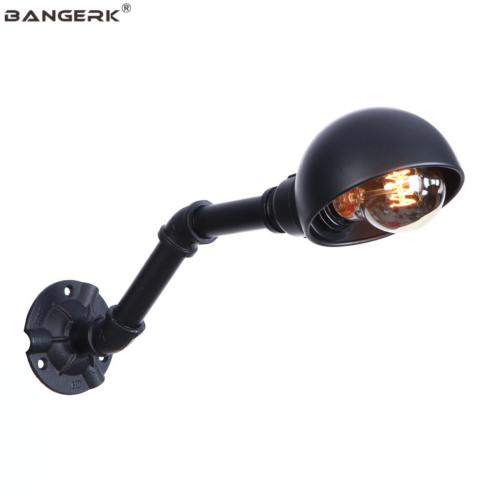 Black Iron Water Pipe Wall Light Retro Loft Decor LED Wall Lamp Industrial Edison Wall Sconce Bedside Home Lighting Luminaire