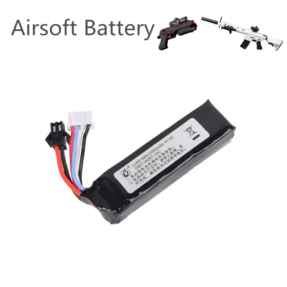 11.1v <font><b>2000mah</b></font> 451865 <font><b>Lipo</b></font> Battery for Electric Water Guns Battery RC Helicopter <font><b>3S</b></font> Lithium Polymer Battery SM-2P Plug image