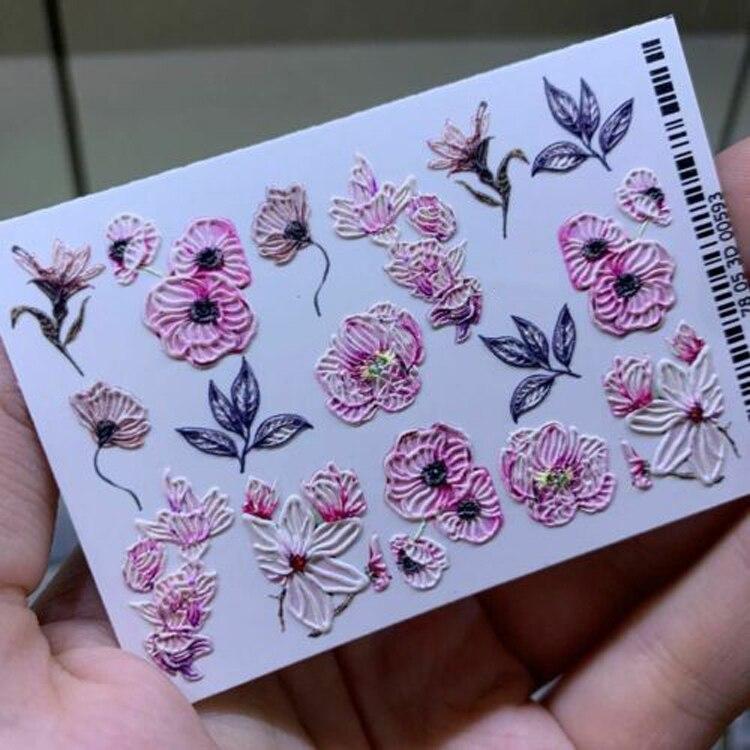 Fleur/papillon 3D décalcomanies à ongles Сharms ongles cristaux de transfert deau autocollant à ongles enveloppes à ongles spirale 3 d ongle toboggan tatouage à ongles, J-