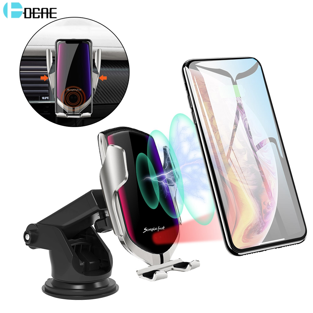 DCAE 10W QI Car Wireless Charger For IPhone X XS XR 8 11 Pro Max Samsung S10 S9 Plus Note 10 9 Automatic Clamping Fast Charging Car Phone Holder Stand