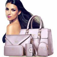 Fashion Women 5 Piece/set Handbag Purse Set Classic Messenger Bag Imitation Leather Shoulder Bag 6 Colors Ladies PU Bag