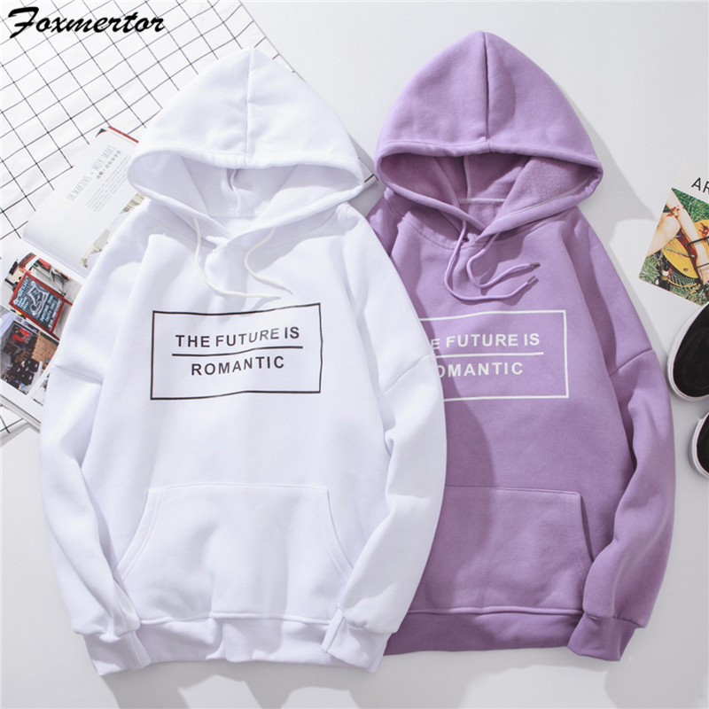 Harajuku Hoodies Sweatshirt 2019 Women Fashion Sweatshirts Long Sleeve Hoodies Streetwear Cool Girl Purple Oversized Hoodie Top