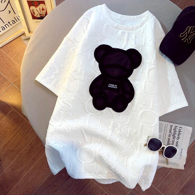 Kadın t-shirt Harajuku kızlar artı boyutu üstleri mektup jakarlı o-boyun kısa kollu gevşek yaz Tshirt ayı beyaz Tees M-5XL
