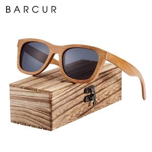 Image 1 - BARCUR 레트로 남자 선글라스 여성 편광 선글라스 대나무 수제 나무 선글라스 비치 나무 안경 Oculos de sol