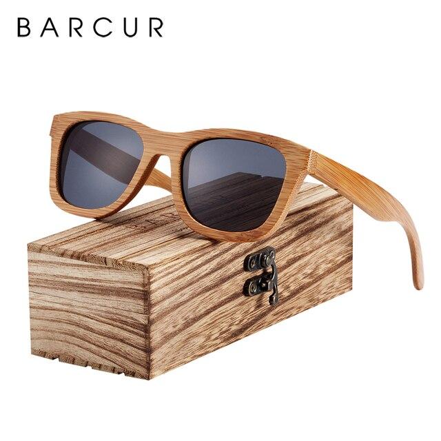 BARCUR 레트로 남자 선글라스 여성 편광 선글라스 대나무 수제 나무 선글라스 비치 나무 안경 Oculos de sol
