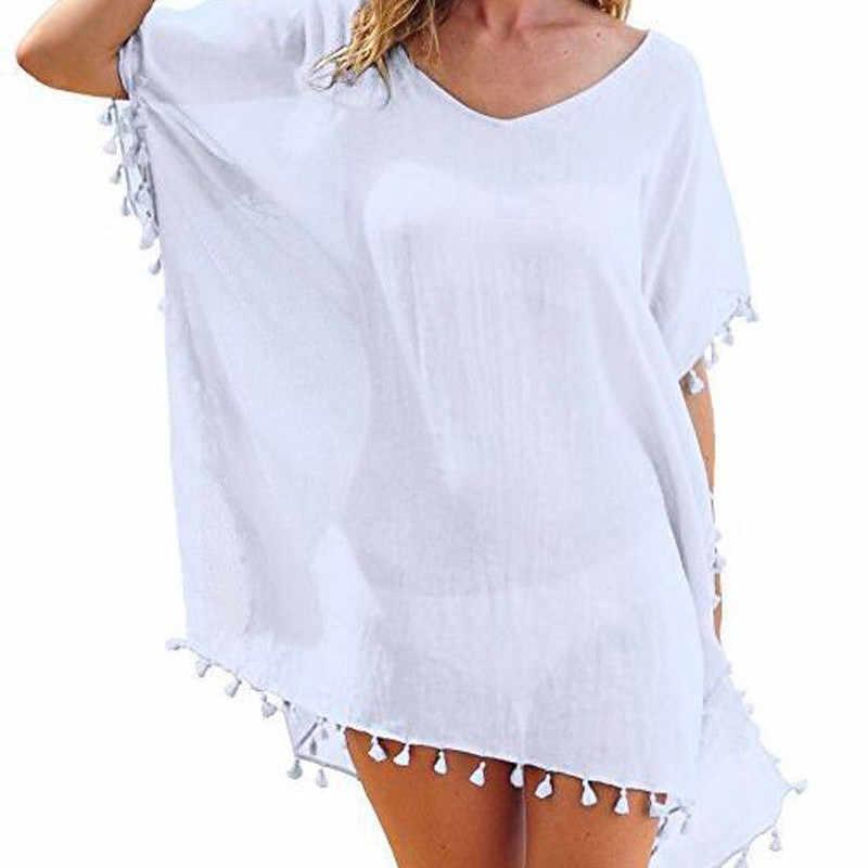2019 חדש שיפון גדילים החוף ללבוש נשים בגד ים לחפות בגדי ים רחצה חליפות קיץ מיני שמלת Loose מוצק Pareo כיסוי ups