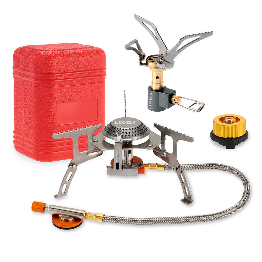Lixada 3000W Outdoor Camping Kompor Peralatan Masak Set Portable Folding Mini Saku Kompor Split Burner Gas Konversi Kepala Adaptor
