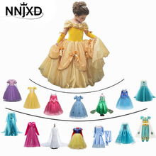 Fancy Girl Princess Dresses Sleeping Beauty Jasmine Rapunzel Belle Ariel Cosplay Costume Elsa Anna Sofia Children Party Clothes(China)