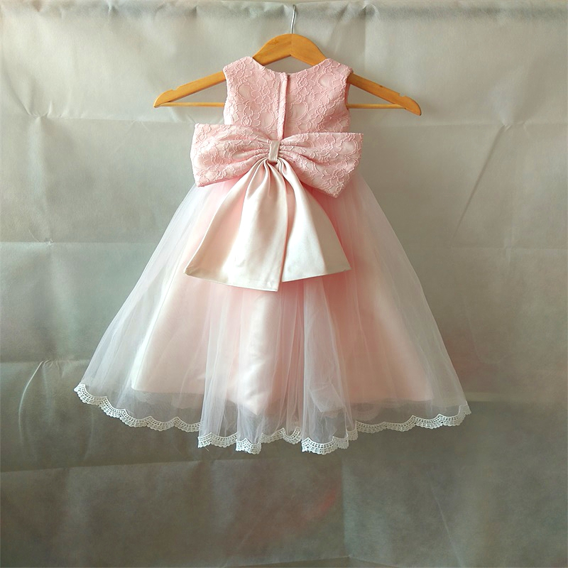 New Real Flower Girl Dresses with Bow Lovely Little Girls Kids/Child Dress for Wedding Birthday Communion Party Pageant Dress