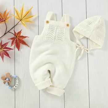 Śpioszki dla niemowląt bez rękawów noworodka dzieci Unisex swetry kombinezony stroje jesień zima ciepłe dzianiny ubrania dla dzieci 2 sztuk tanie i dobre opinie COTTON POLIESTER CN (pochodzenie) CZTERY PORY ROKU Dziecko dla obu płci W wieku 0-6m 7-12m 13-24m Stałe baby Kwadratowy kołnierz