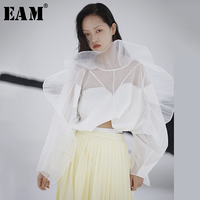 [EAM] Women Pleated Perspective Organza Three dimensional Blouse New Long Sleeve Loose Fit Shirt Fashion Spring Summer 2020 1S11