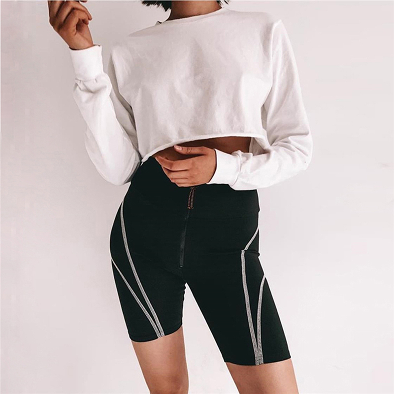 New Fashion Women High Waist Striped Shorts Zipper Anti Cellulite Shorts Ladies Casual Solid Color Shorts Sport Fitness Wear