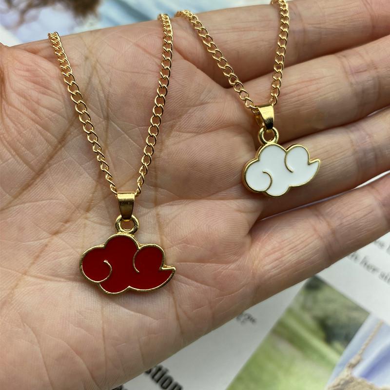 Cloud Pendant Necklace Red pink color Fashion Women Men Necklace Gift For Friend Golden Color Link Chain Neck Jewelry Wholesale