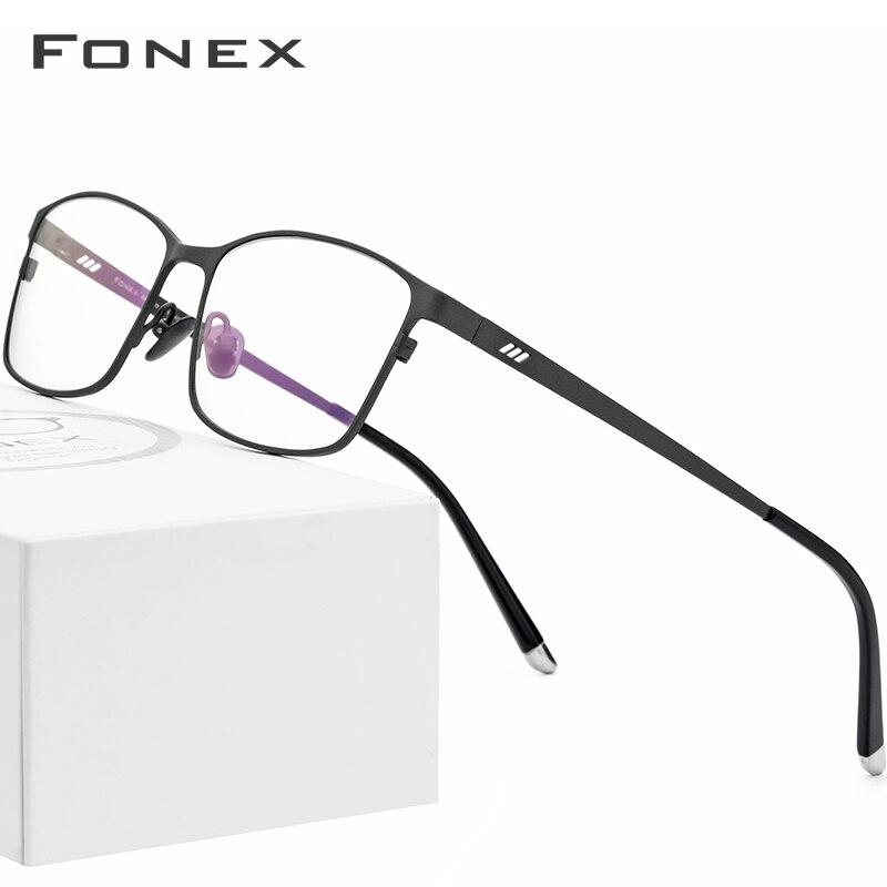 FONEX Pure Titanium Men Eyeglasses Frame New Square Myopia Optical Glasses Full Rim Male Prescription Eyewear 8505