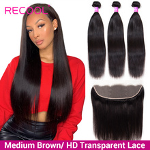 Brazilian Straight Human Hair 3 Bundles With Frontal Closure 13x4 HD Transparent Swiss Lace Frontal Closure With Bundles Recool