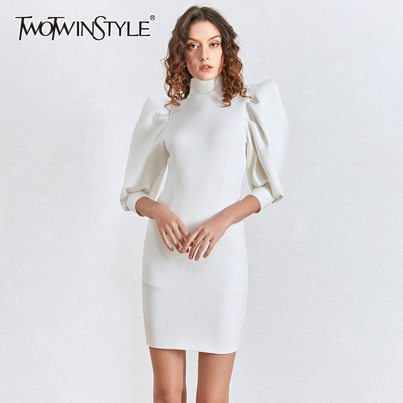 TWOTWINSTYLE Casual Slim Midi Dress Women Stand Collar Puff Half Sleeve High Waist Dresses For Female Fashion 2020 Clothing Tide