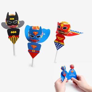 18pcs Wonder Woman Superman Batman Candy Lollipop Decoration Cards for Kids Children Super Hero Themed Birthday Party Favor Gift