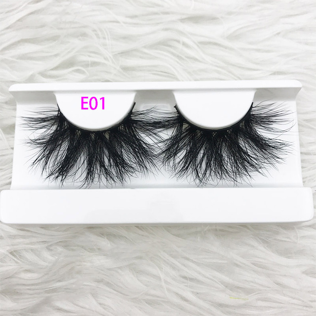 3D MIKIWI real mink lash 25mm E01 extra length and fluffy luxury mink eyelashes natural thick Eye lashes wispy makeup extention 3