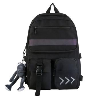 Nowy Trend plecaki szkolne dla kobiet kobiety wodoodporny plecak moda odblaskowe torby szkolne dla nastolatków torby na ramię z wieloma kieszeniami tanie i dobre opinie LXHYSJ CN (pochodzenie) NYLON Unisex zipper wytłoczone 20-35 litrów Miękka osłona Pasek odblaskowy Łukowaty pasek na ramię
