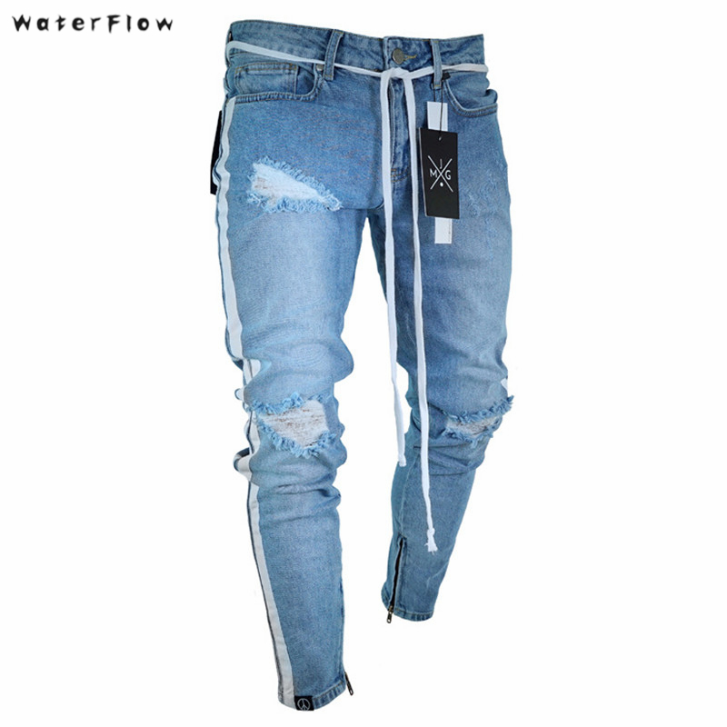 2019 New Broken Car Cloth Strips Billionaire Elastic Denim Trousers Men Feet   Jeans   Mens Skinny   Jeans   Knee Ripped Holes   Jeans