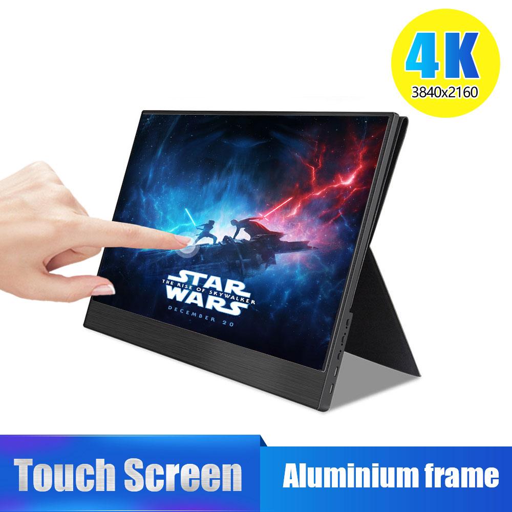 4 k monitor portátil da tela de toque, 15.6 polegada 3840x2160 ultra magro ips display lcd com hdmi tipo c para o computador portátil ps4 switch