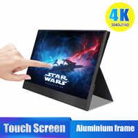 4 k touch 15.6 monitor portátil, 13.3 polegada 3840x2160 ultra magro ips display lcd com hdmi tipo c para computador portátil ps4