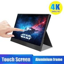 4k touch 15.6 monitor portátil, 13.3 Polegada 3840x2160 ultra magro ips display lcd com hdmi tipo c para computador portátil ps4