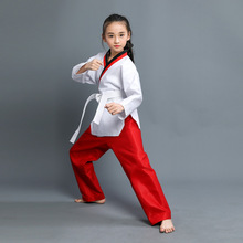 Child Cotton Kyokushin Karate Uniform Breathable WTF Approved Clothing Girls RED BLUE Taekwondo Dobok Training Clothes With Belt taishan wtf poomsae dan dobok male female taekwondo suits authentic designated taishan tkd poomsae fabrics uniforms have dan