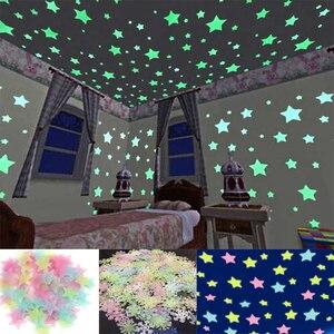 100/50pcs 3D Stars Glowing Wall Stickers Kids Bedroom Fluorescent Glow Toys Luminous Star Stickers Bedroom Painting Luminous #