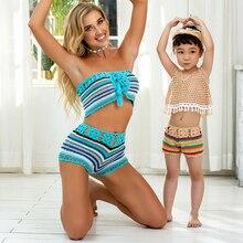 Matching Swimsuit Tankini Swim-Wear Family Womens Girl Baby Children Kid Maillot-De-Bain